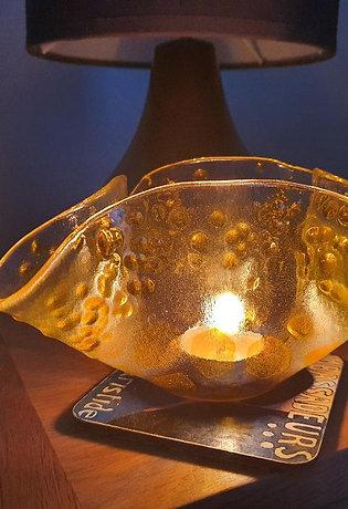 Handmade Stained Glass T light Holder