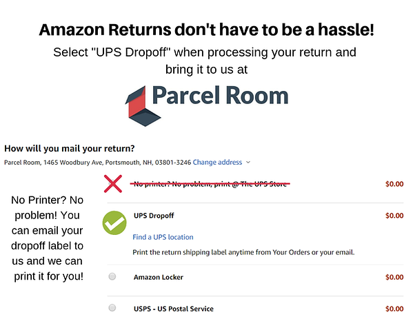 Prepaid returns for Amazon, don't let their procss cause you hassles. We can help, QR code packages are only acceptable at a UPS store, you can cancel that code and create a new return label. Print the label and bring it in, or email it us and we will print it for you for a nominal charge of $2.00