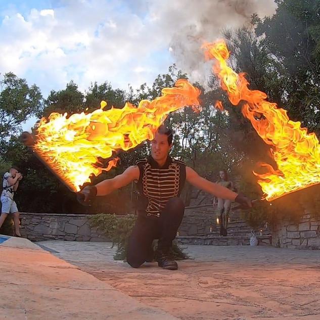 Fire performer Nono Ban