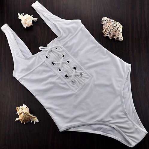 White Lace Up Front Swimsuit