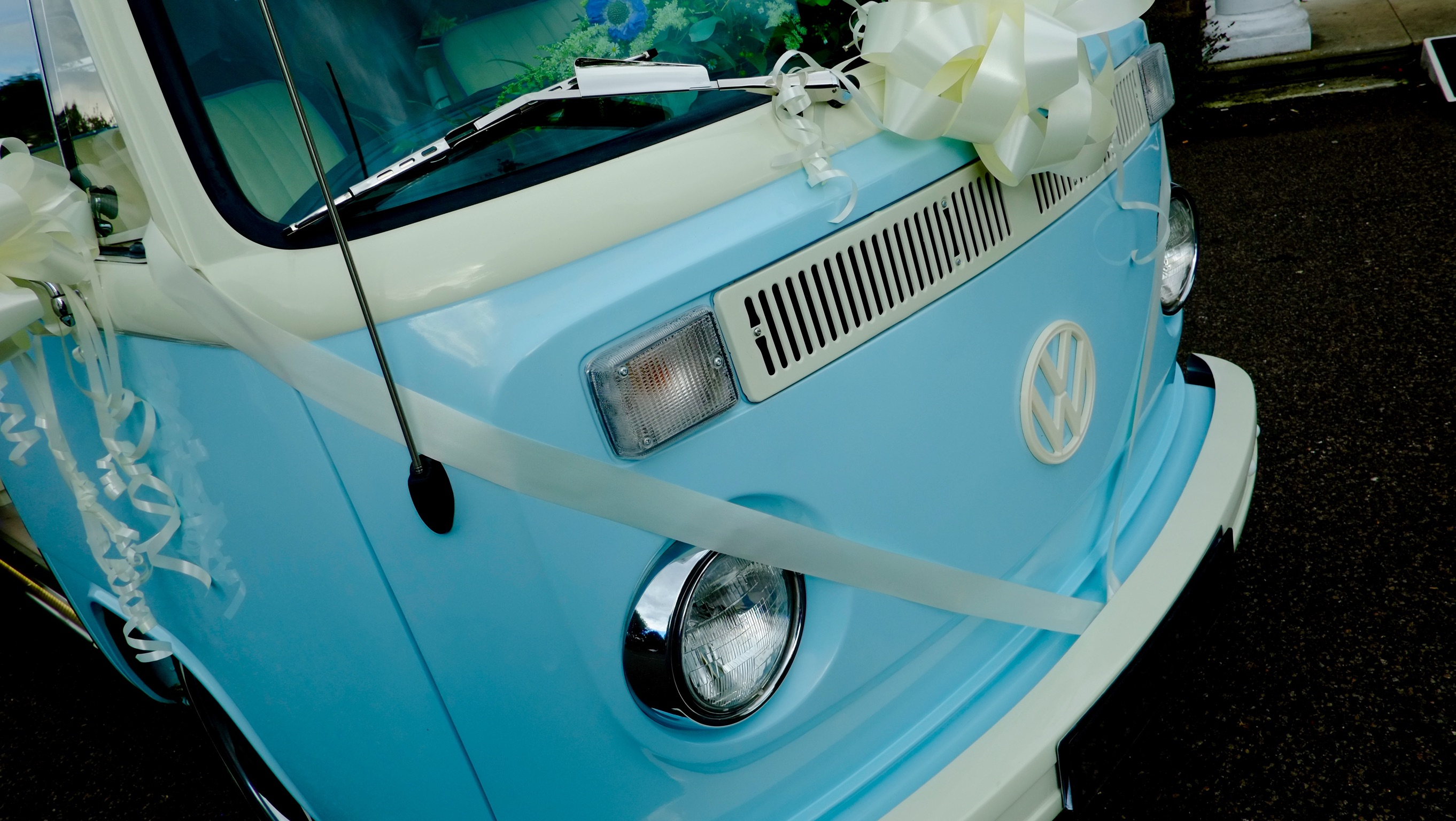 VW campervan with ribbons