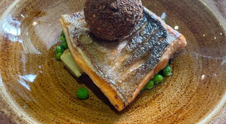 Salmon dish at The Abergavenny Arms