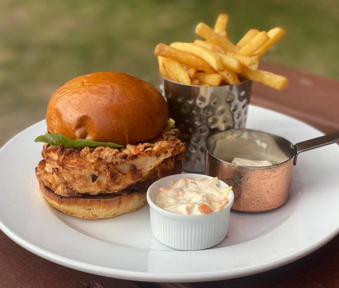 Southern fried chicken burger at the bul