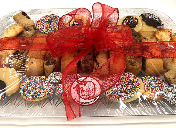 a variety of chocolate chip mandel bread, madagascar butter cookies, and coconut macaroons