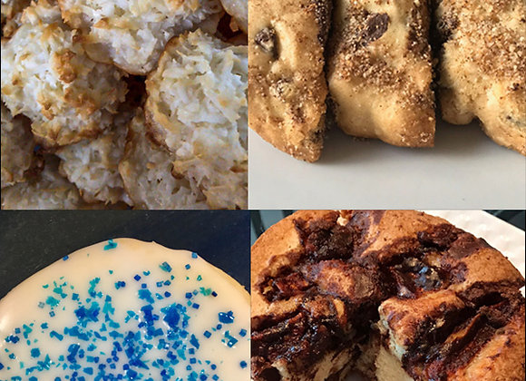 perfect gift for the holidays a combination of jewish apple cake, coconut macaroons, chocolate chip mandel bread and cookies