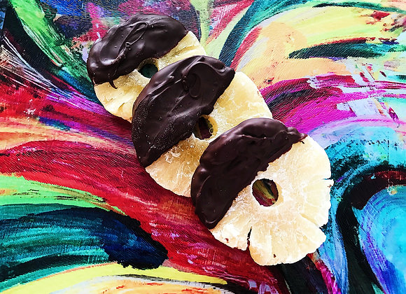 chocolate covered pineapple rings