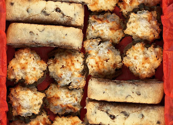 Chocolate chip mandel bread and coconut macaroon nosh box with chocolate covered orange peels