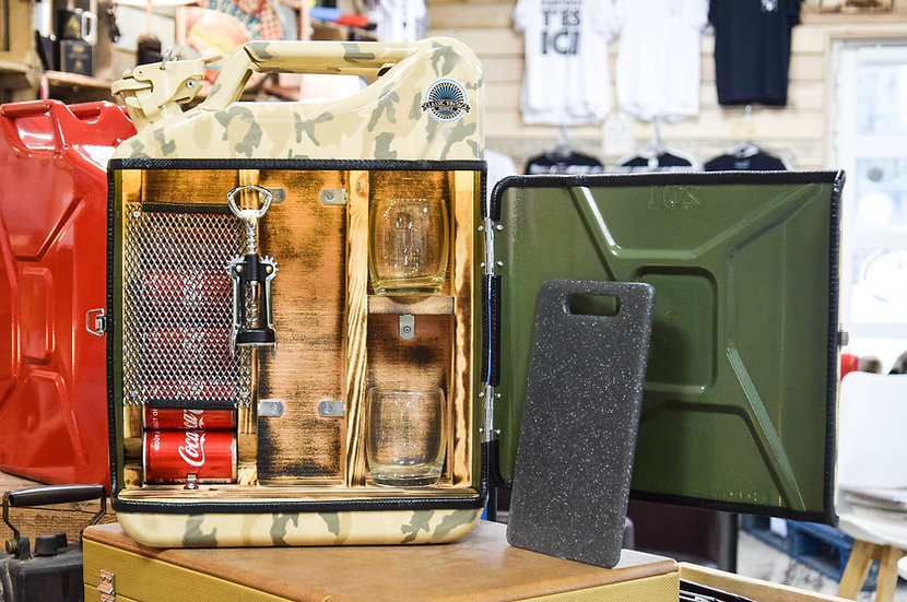 Jerrycan Mini-bar Military Beige Roots Fumé