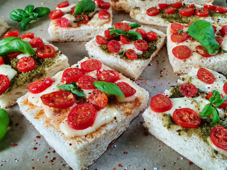 Cherry tomato cheese toast with Indian Pesto sauce