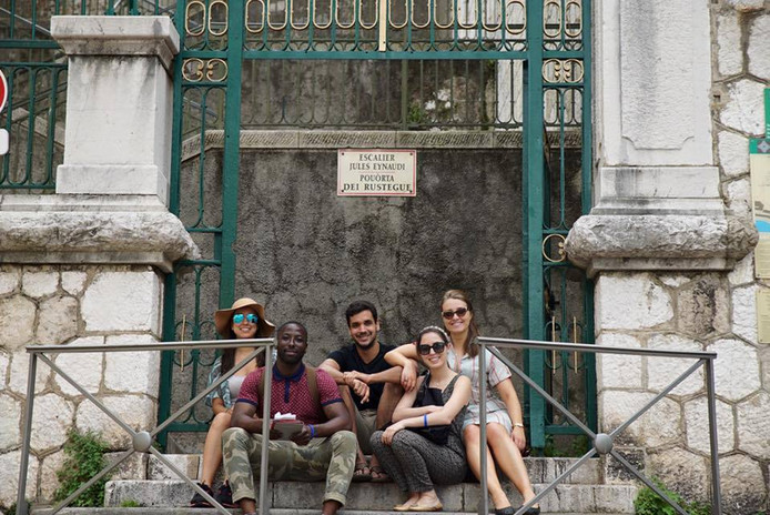 Editor Bianca Veiga, Director Temi Tokosi, Writer Nate Hapke, Producer Viviana Mauri, and Actress Melissa Woodside location scouting in Nice, France.