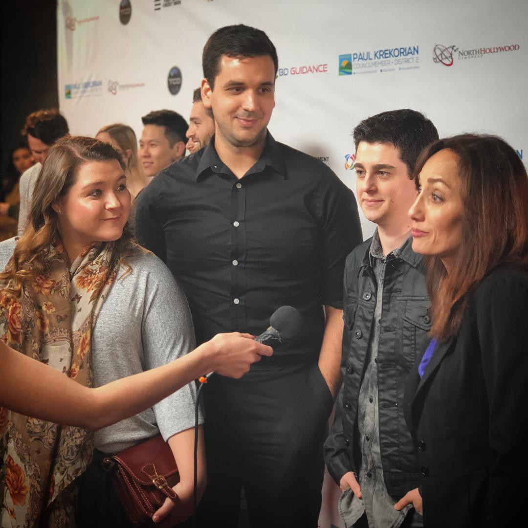 Producer Sophia Zach, Writer/Director Nate Hapke, and stars Aaron Sanders and Danielle Rayne on the red carpet for the 2018 NoHo CineFest.