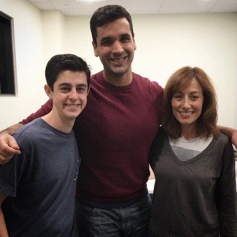 Star Aaron Sanders, Writer/Director Nate Hapke, and star Danielle Rayne during a rehearsal for the film.