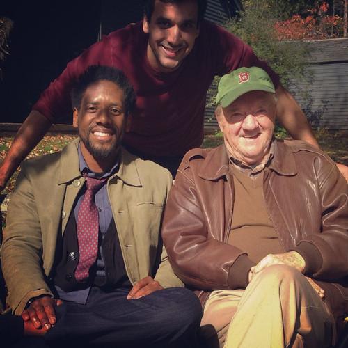 Star Al Thompson, Writer/Director Nate Hapke, and star Richard Herd on set.