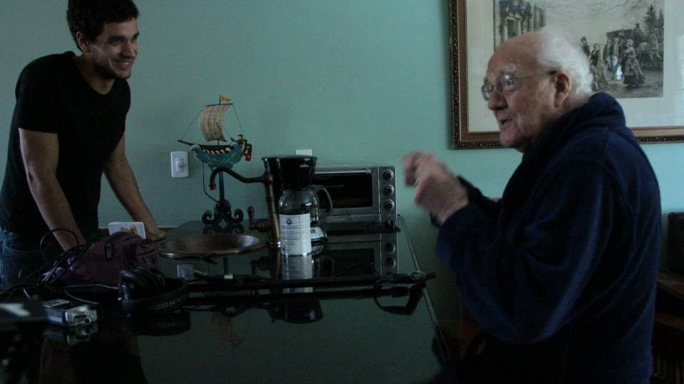 Writer/Director Nate Hapke and lead actor Richard Herd on set.