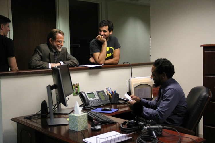 DoP Mike Moates, co-star David Gibson, Writer/Director Nate Hapke, and lead actor Al Thompson on set.