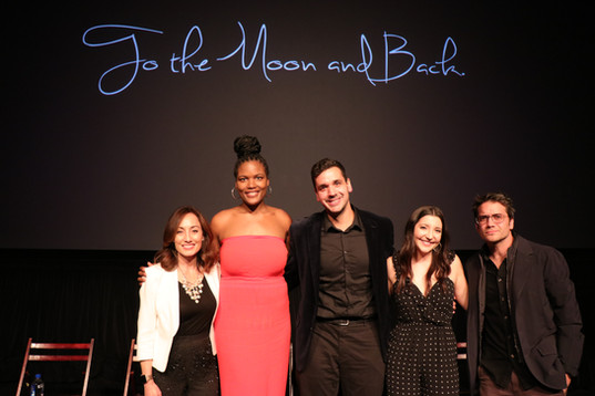 Actress Danielle Rayne, Moderator Niya Wright, Writer/Director Nate Hapke, Actress Julie Romano, and Actor Dominic Zamprogna pose after the Q&A.
