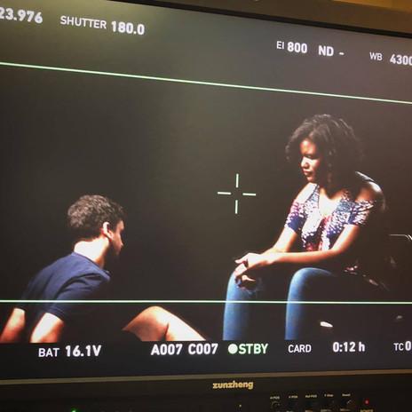 Writer/Director Nate Hapke and star Niya Wright work through a tough scene.