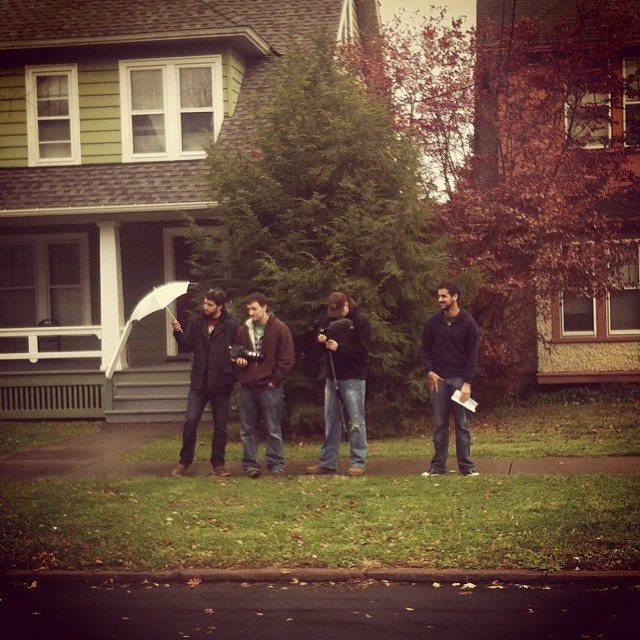 Writer/Producer/Editor Ian Ludd, DoP/Writer Mike Gagnon, Production Sound Mixer/Actor Nick Lingo, and Writer/Director/Producer Nate Hapke on set.