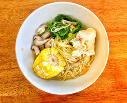 Corn mushroom soup with wolfberry noodles