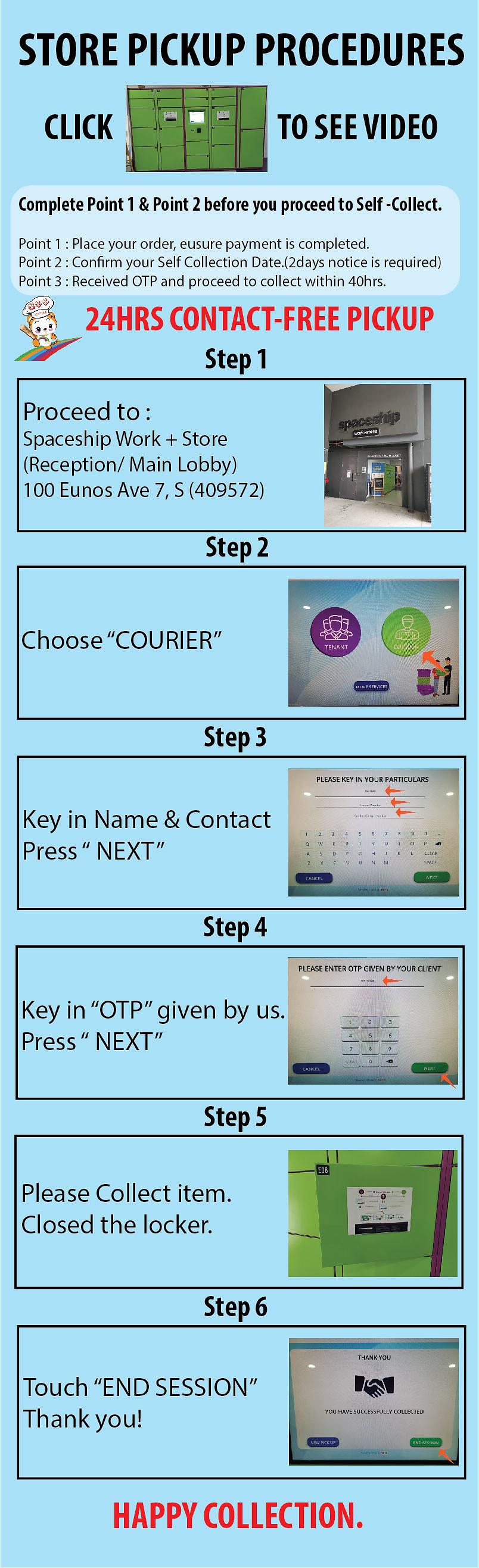 Website use Self Pickup Procedure and Sh