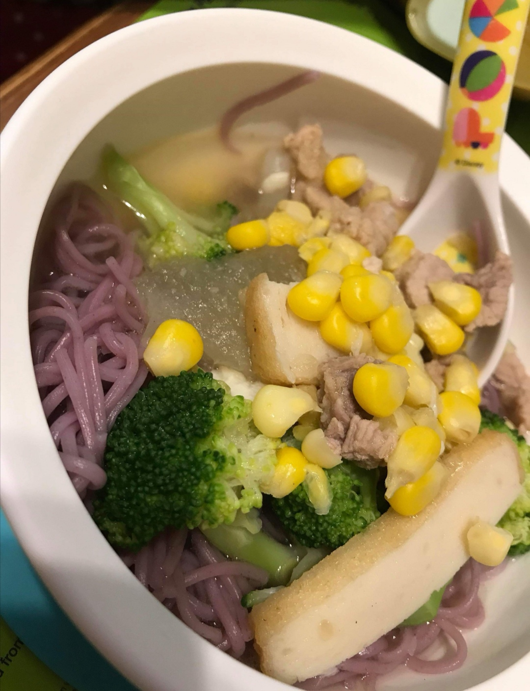 corn w purple sweet potato noodle