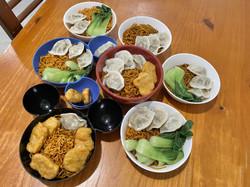 whole family eat huai shan noodles