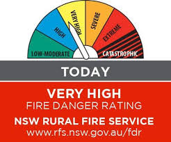 Very High fire rating Tuesday – temps up to 40-plus
