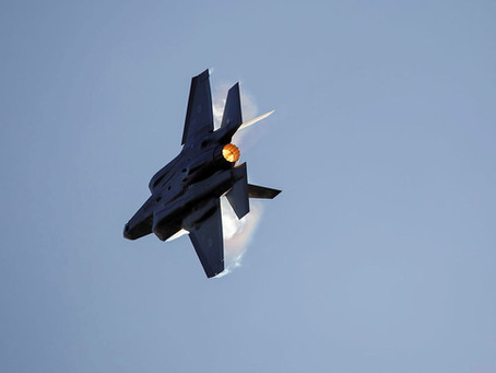 F35 Lightning fighter jets coming into land at RAAF Richmond on Monday