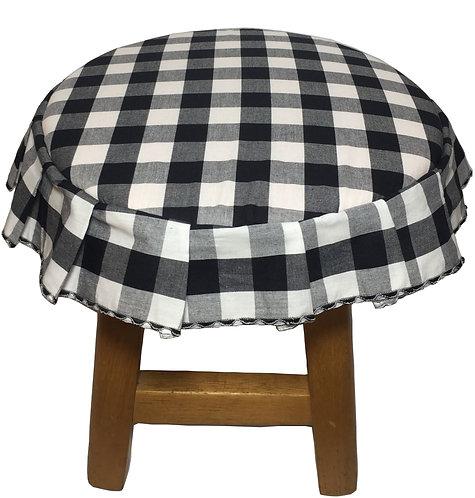 Capa para banco redondo com babado xadrez preto