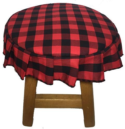 Capa para banco redondo com babado xadrez vermelho