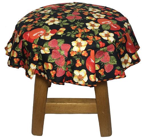 Capa para banco redondo com babado floral