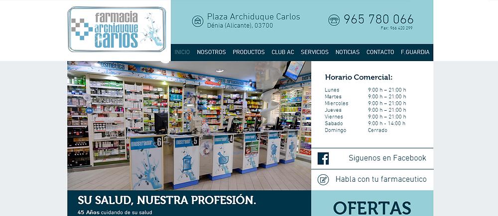 Farmacia Archiduque Carlos estrena nueva página web