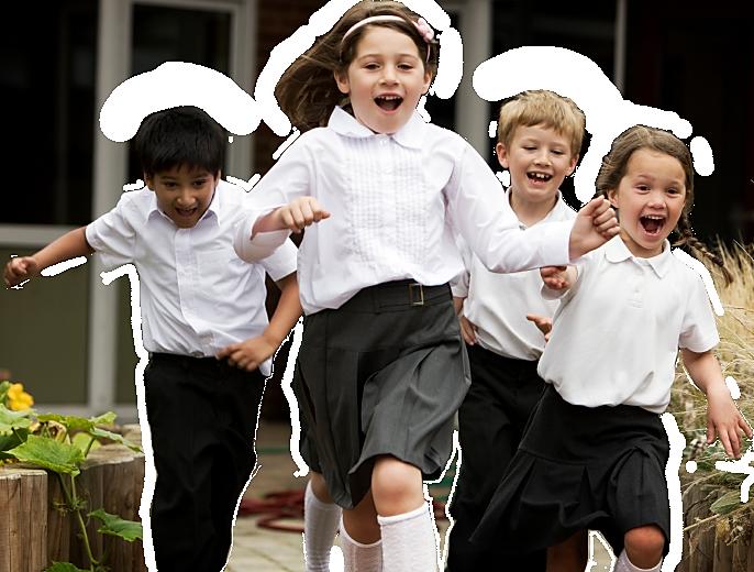 Children running to PlayFit Kids Club