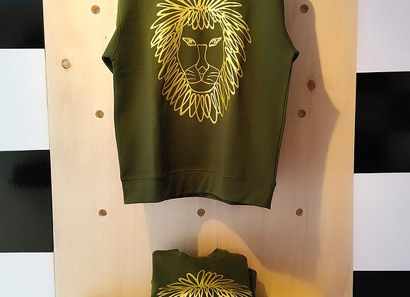 Power -  Gold Lion on Olive crewneck