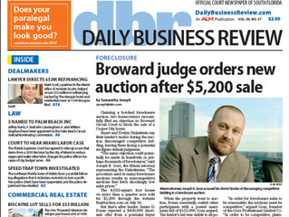 Daily Business Review Covers Gosz PLC's Objection to Foreclosure Sale