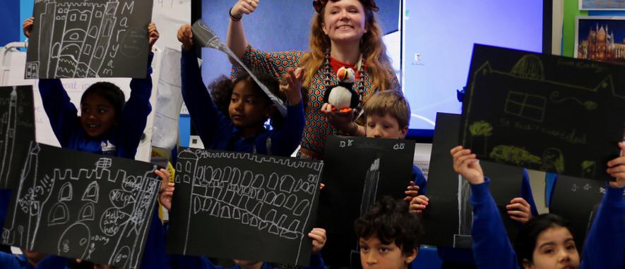 Annie Farriner during a school visit