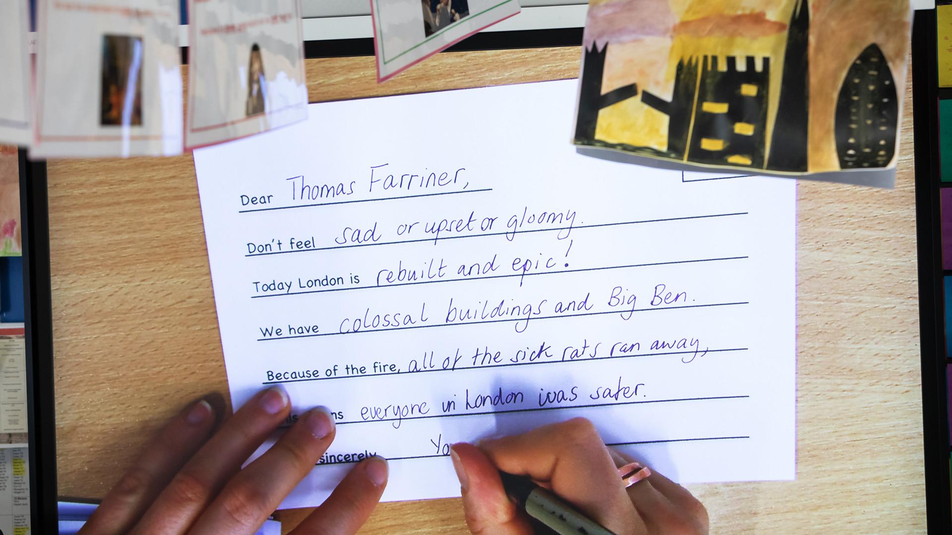 Children's letters to Thomas Farriner