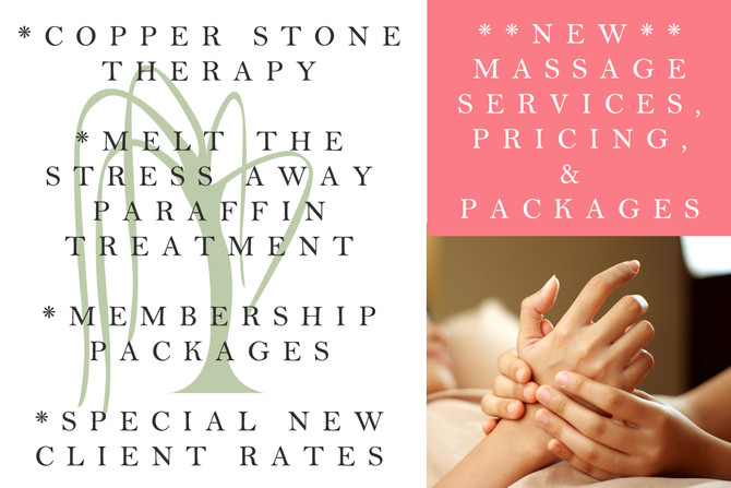 New Massage Services & Pricing Options