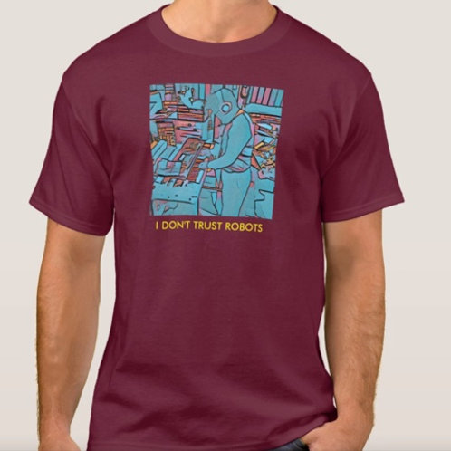 Maroon Short Sleeve T-Shirt With Blue Image