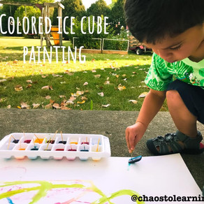 Colored ice cube painting!