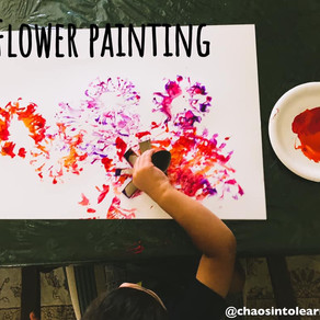 Toilet paper roll flower painting