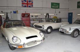 Jaguar E type, MGB GT & Mercedes 280