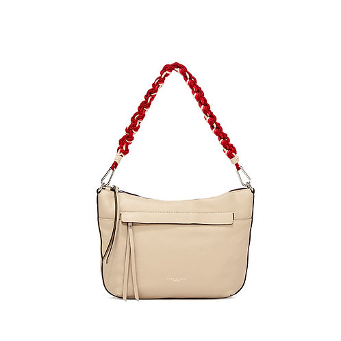 GIANNI CHIARINI TOPZIP CROSSBODY-PEBBLE LEATHER