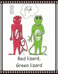 red lizard, green liz