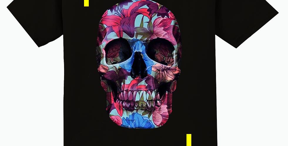 Flowered skull T-shirt (black)
