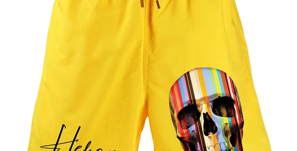 Aztec Skull shorts (Yellow)