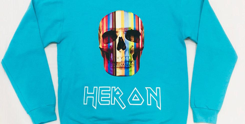 Rainbow skull crewneck sweater (teal)