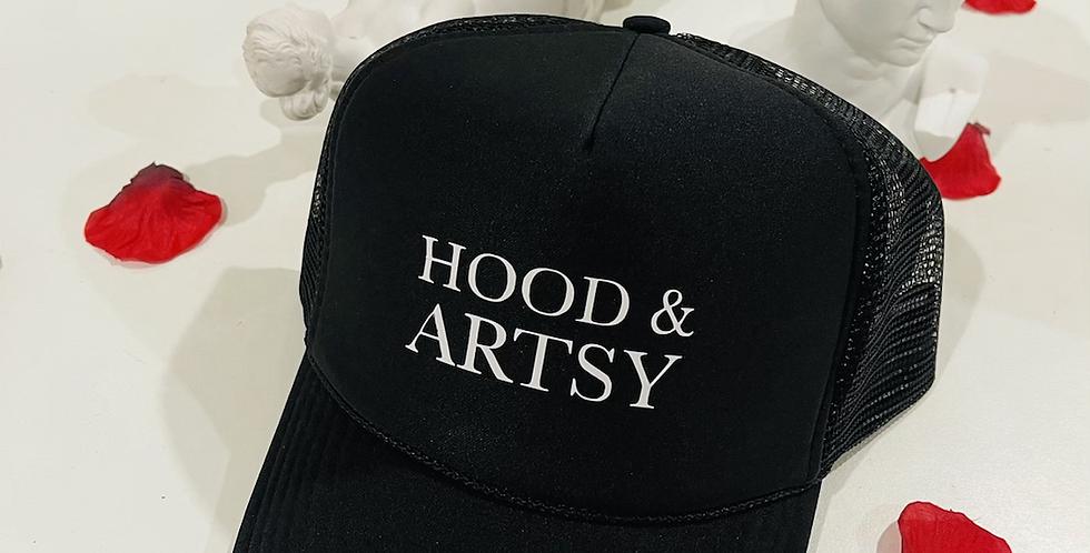 Hood & Artsy Trucker Hat (Black)