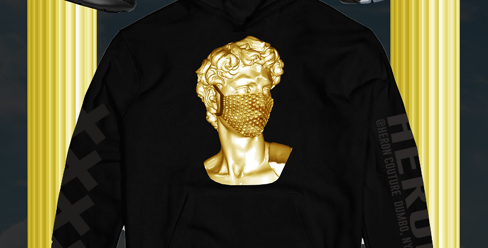 Quarantined in fashion Hoodie (Black/Gold)