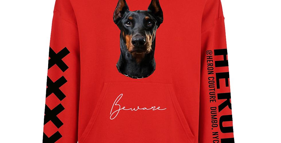 Beware Of Dog Hoodie (Red)